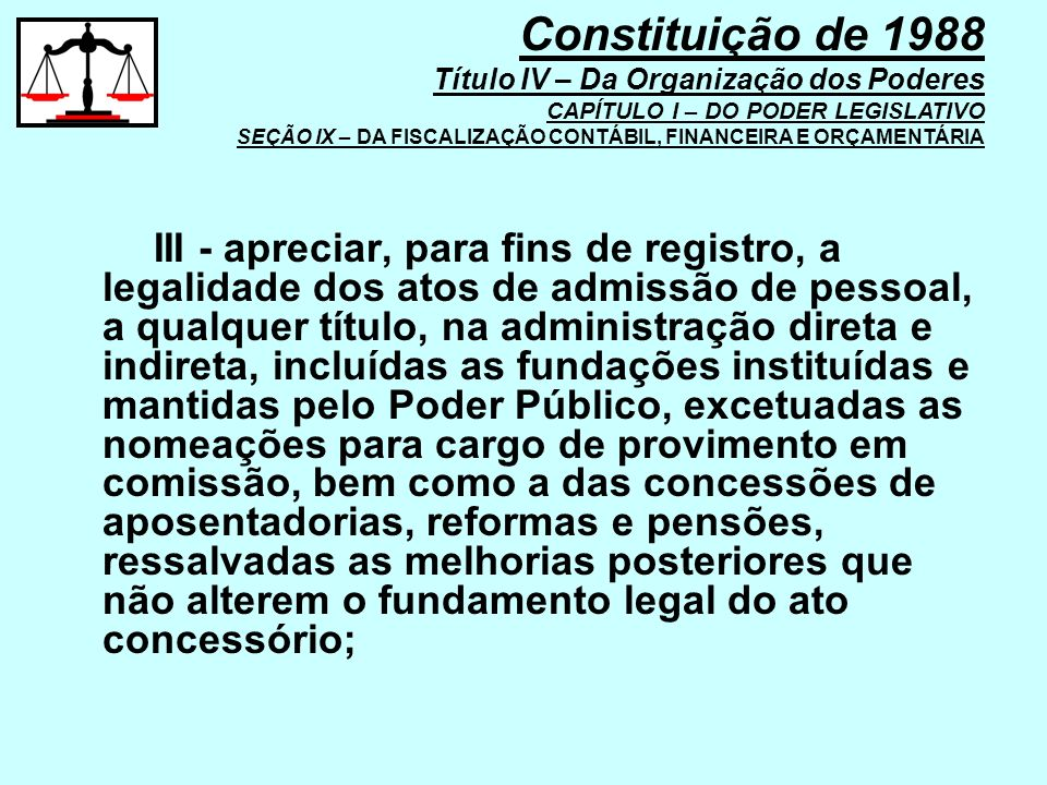 Constituição de 1988 Título IV – Da Organização dos Poderes CAPÍTULO I – DO PODER LEGISLATIVO SEÇÃO IX – DA FISCALIZAÇÃO CONTÁBIL, FINANCEIRA E ORÇAMENTÁRIA