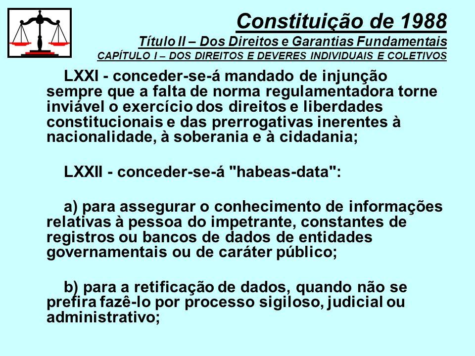 Constituição de 1988 Título II – Dos Direitos e Garantias Fundamentais CAPÍTULO I – DOS DIREITOS E DEVERES INDIVIDUAIS E COLETIVOS