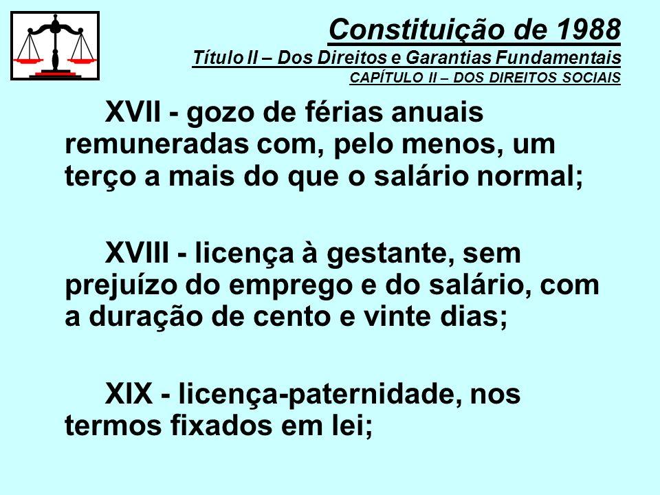 Constituição de 1988 Título II – Dos Direitos e Garantias Fundamentais CAPÍTULO II – DOS DIREITOS SOCIAIS