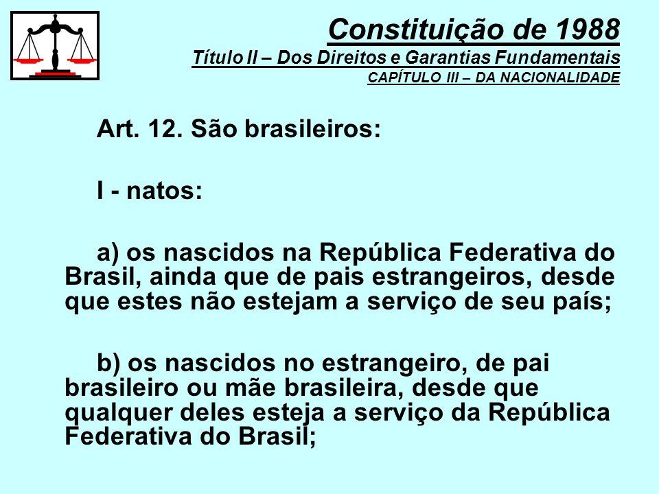 Constituição de 1988 Título II – Dos Direitos e Garantias Fundamentais CAPÍTULO III – DA NACIONALIDADE