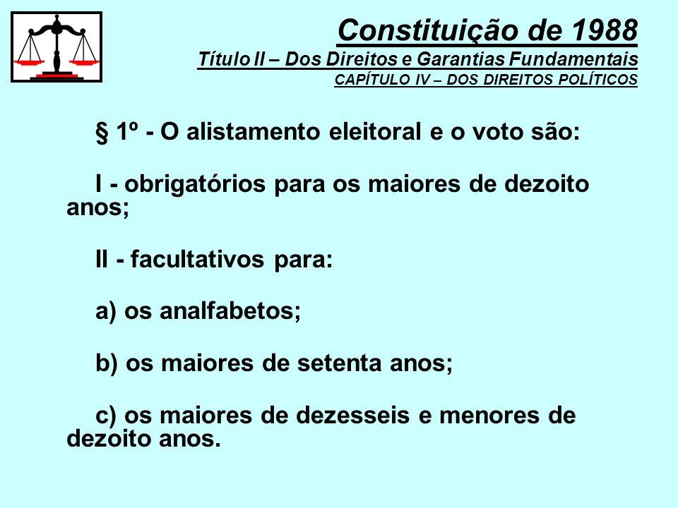 Constituição de 1988 Título II – Dos Direitos e Garantias Fundamentais CAPÍTULO IV – DOS DIREITOS POLÍTICOS