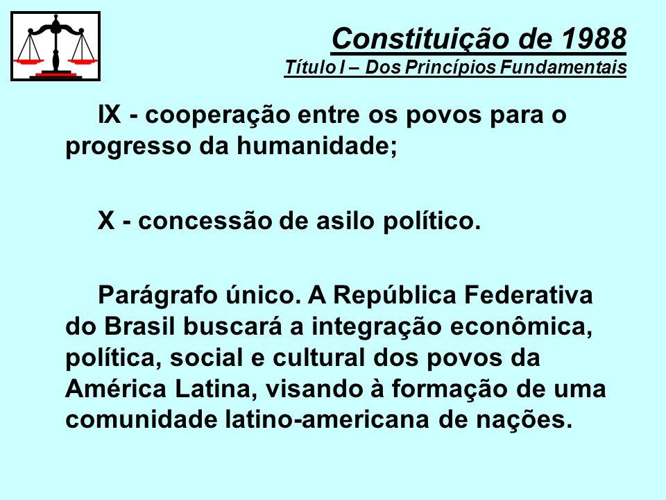 Constituição de 1988 Título I – Dos Princípios Fundamentais