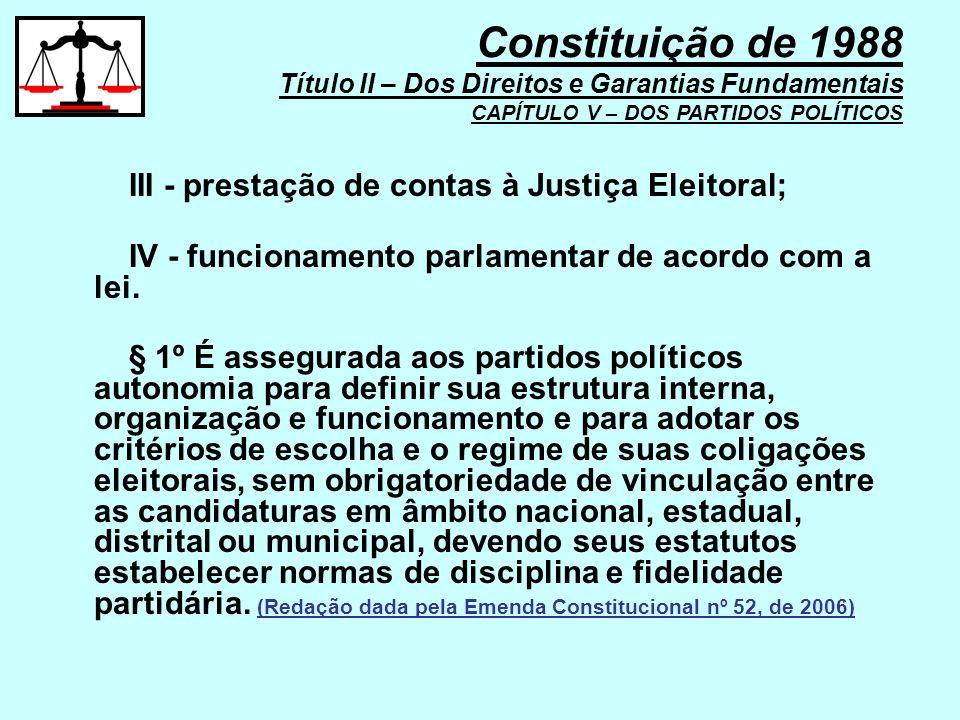 Constituição de 1988 Título II – Dos Direitos e Garantias Fundamentais CAPÍTULO V – DOS PARTIDOS POLÍTICOS