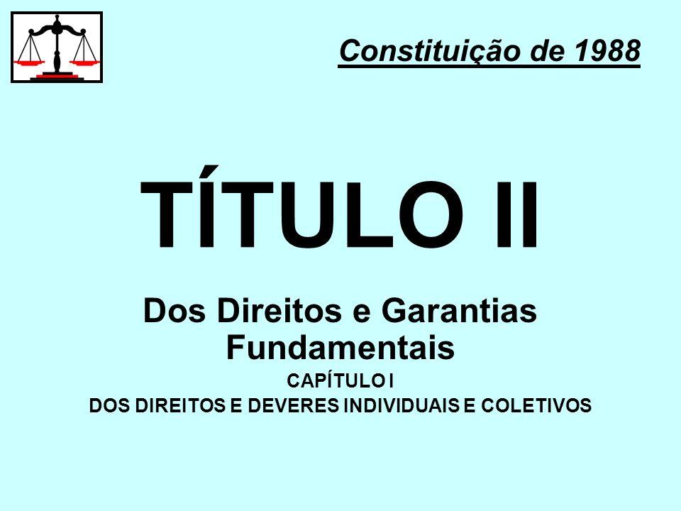 TÍTULO II Dos Direitos e Garantias Fundamentais Constituição de 1988
