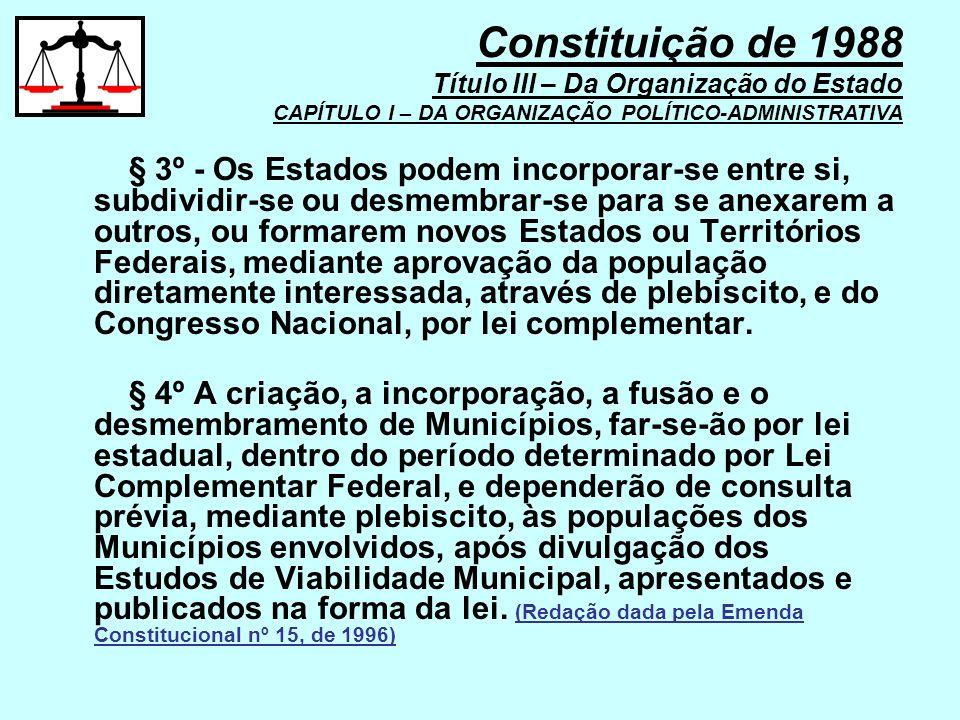 Constituição de 1988 Título III – Da Organização do Estado CAPÍTULO I – DA ORGANIZAÇÃO POLÍTICO-ADMINISTRATIVA