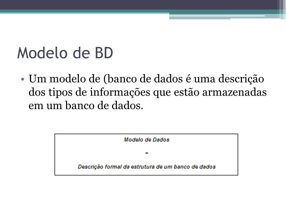 Modelo de BDUm modelo de (banco de dados é uma descrição dos tipos de informações que estão armazenadas em um banco de dados.