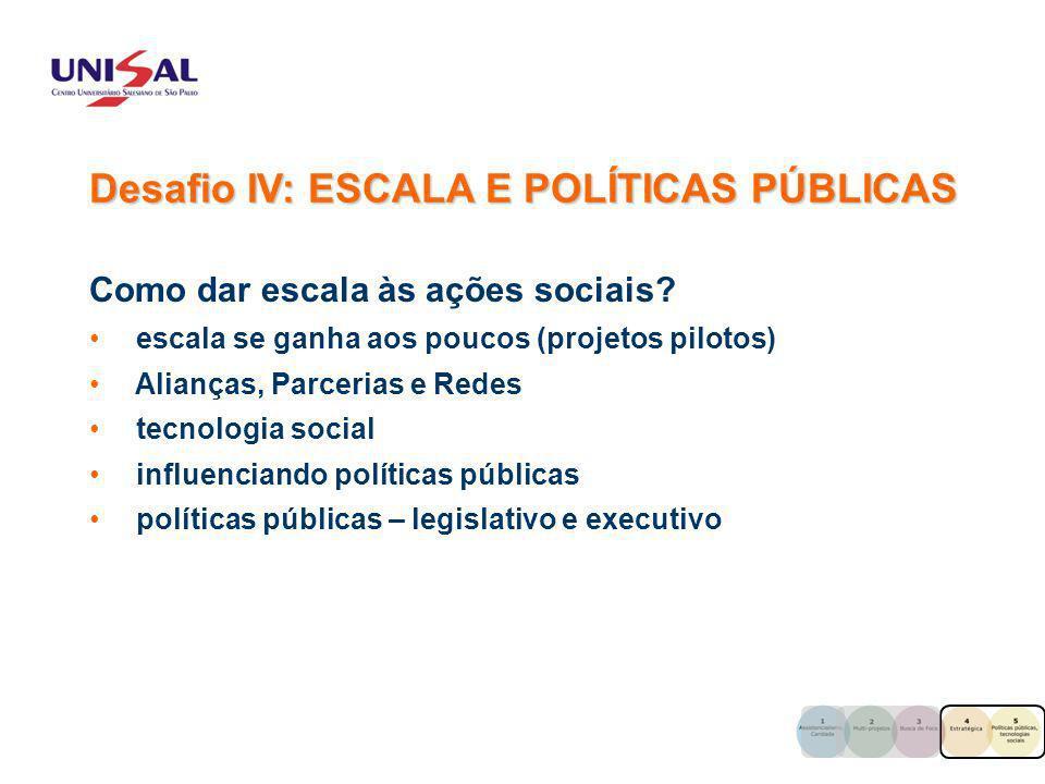 Desafio IV: ESCALA E POLÍTICAS PÚBLICAS