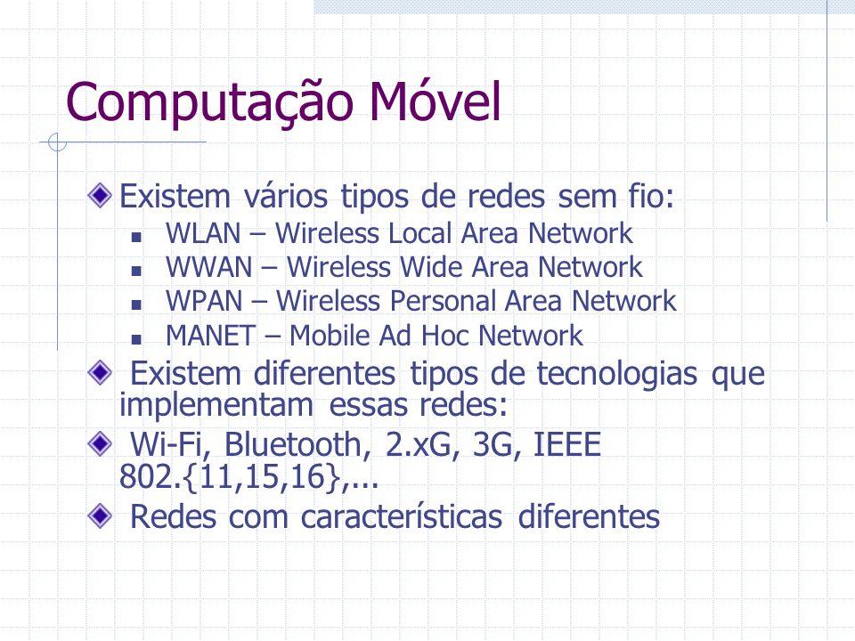 Computação Móvel Existem vários tipos de redes sem fio:
