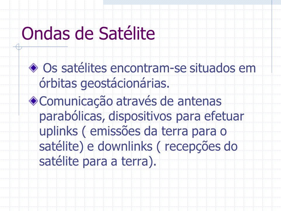 Ondas de Satélite Os satélites encontram-se situados em órbitas geostácionárias.