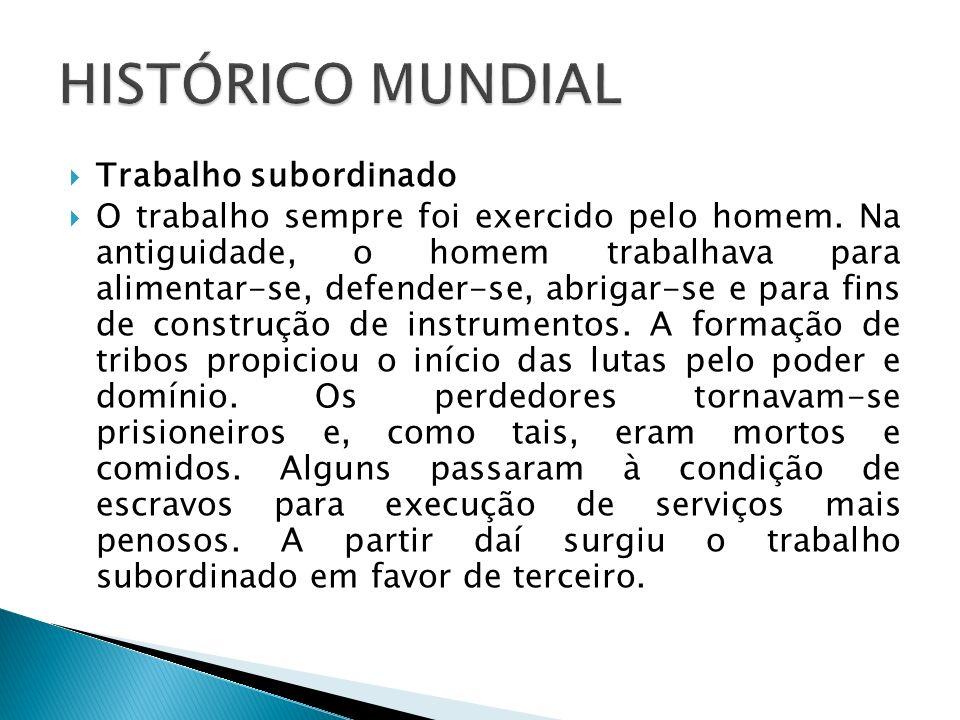 HISTÓRICO MUNDIAL Trabalho subordinado