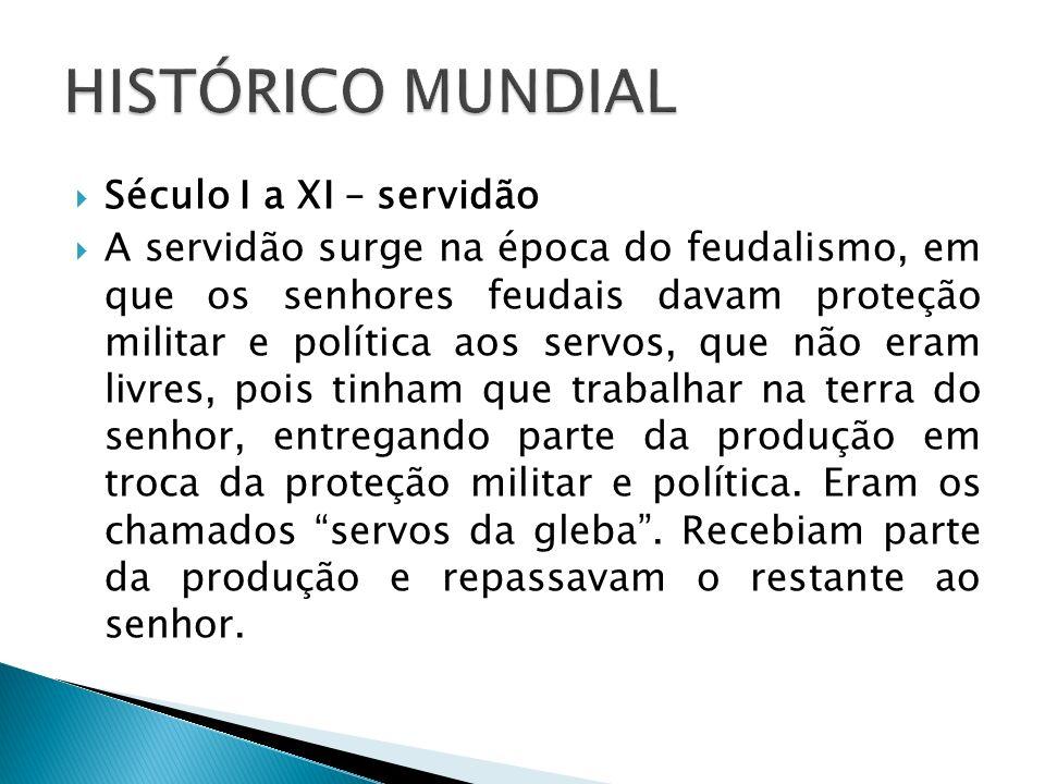 HISTÓRICO MUNDIAL Século I a XI – servidão