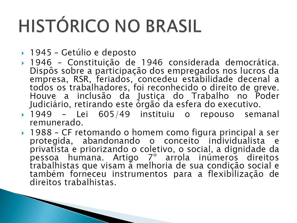 HISTÓRICO NO BRASIL 1945 – Getúlio e deposto