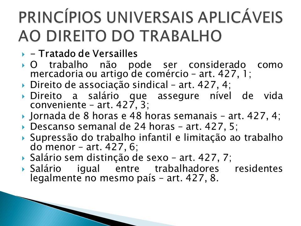 PRINCÍPIOS UNIVERSAIS APLICÁVEIS AO DIREITO DO TRABALHO