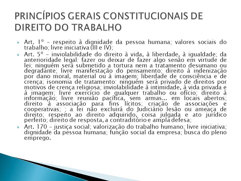 PRINCÍPIOS GERAIS CONSTITUCIONAIS DE DIREITO DO TRABALHO