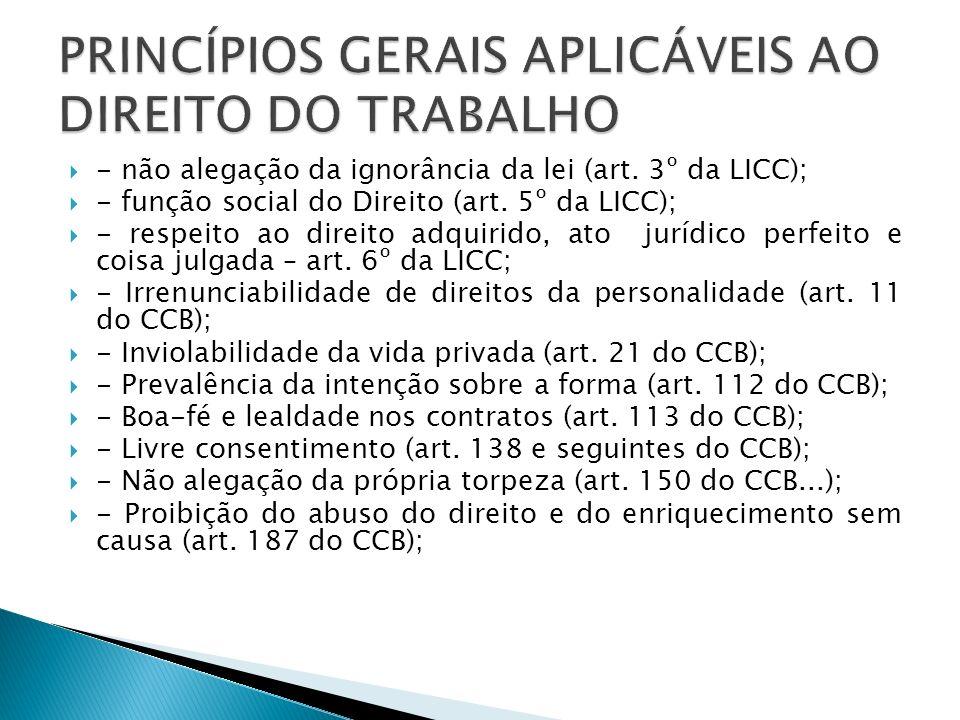 PRINCÍPIOS GERAIS APLICÁVEIS AO DIREITO DO TRABALHO