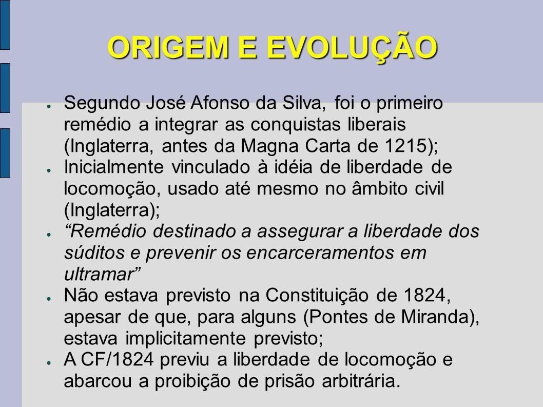 ORIGEM E EVOLUÇÃO Segundo José Afonso da Silva, foi o primeiro remédio a integrar as conquistas liberais (Inglaterra, antes da Magna Carta de 1215);