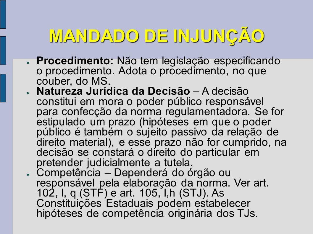 MANDADO DE INJUNÇÃO Procedimento: Não tem legislação especificando o procedimento. Adota o procedimento, no que couber, do MS.