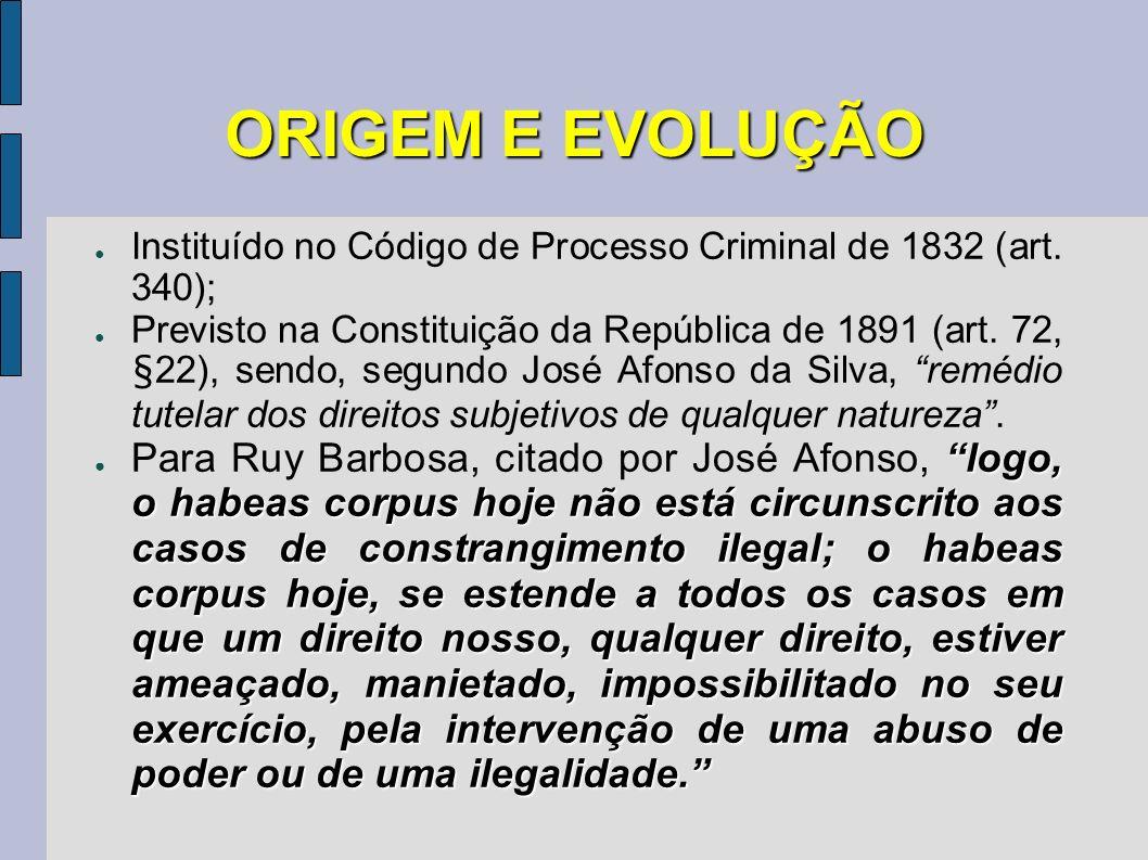 ORIGEM E EVOLUÇÃO Instituído no Código de Processo Criminal de 1832 (art. 340);