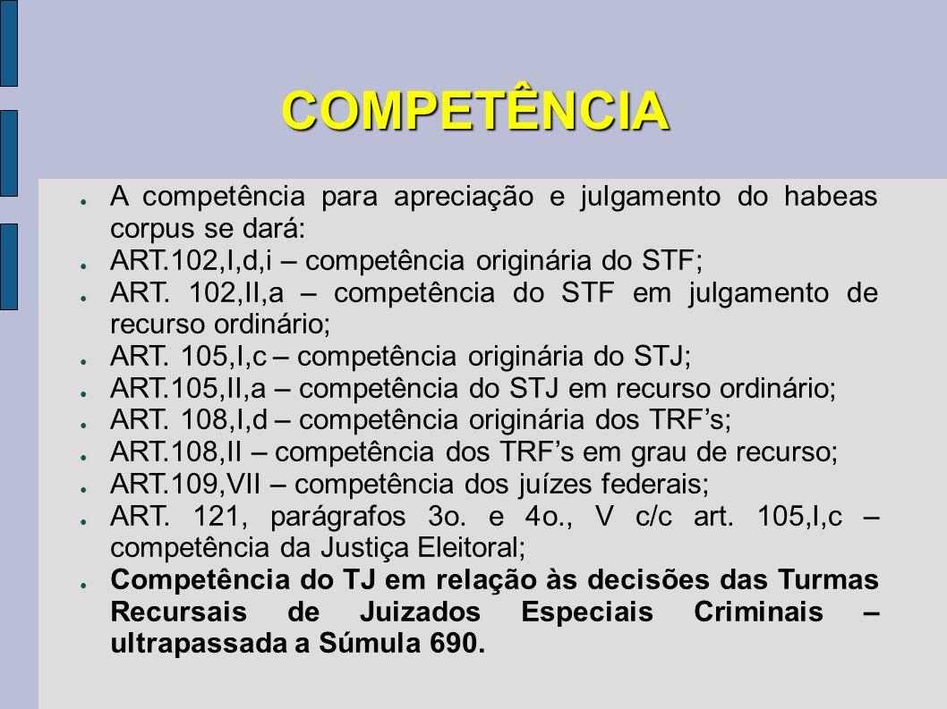 COMPETÊNCIA A competência para apreciação e julgamento do habeas corpus se dará: ART.102,I,d,i – competência originária do STF;