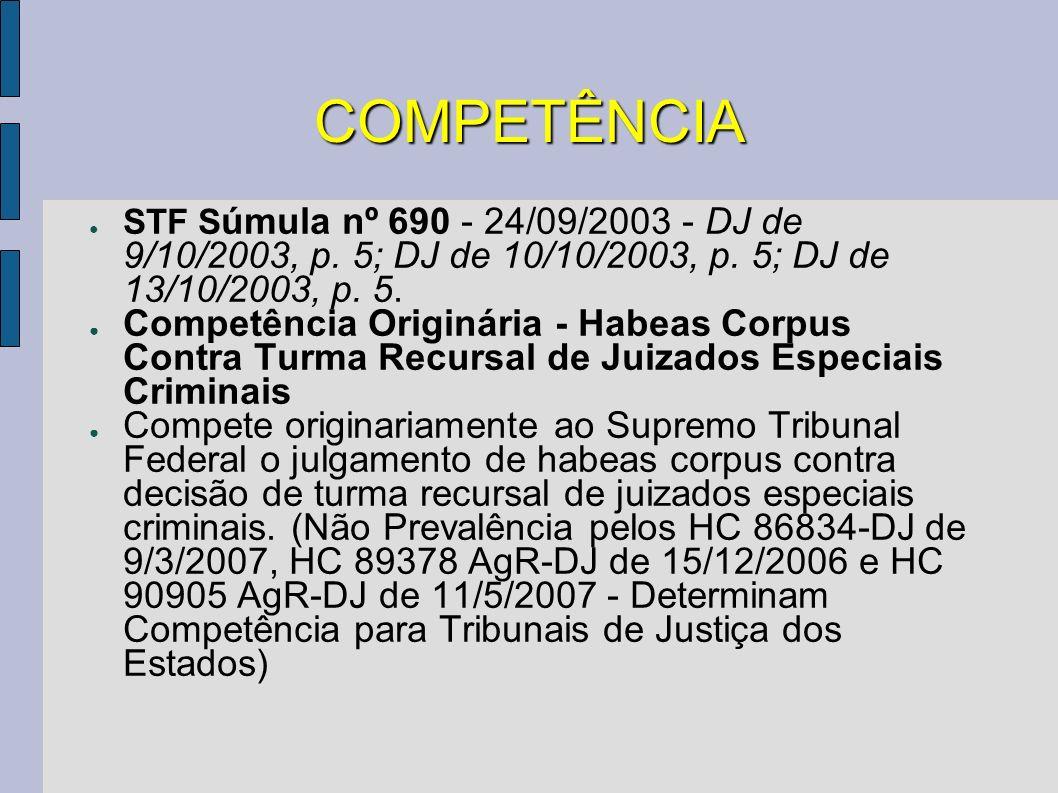 COMPETÊNCIA STF Súmula nº 690 - 24/09/2003 - DJ de 9/10/2003, p. 5; DJ de 10/10/2003, p. 5; DJ de 13/10/2003, p. 5.