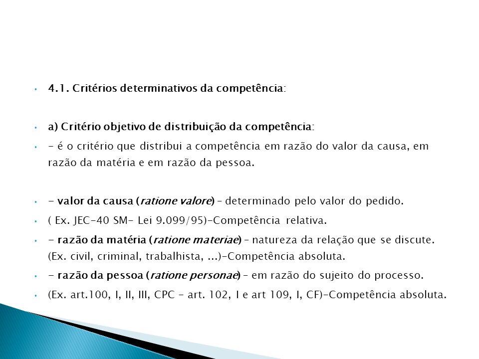 4.1. Critérios determinativos da competência:
