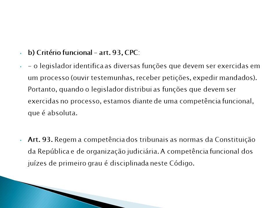 b) Critério funcional – art. 93, CPC:
