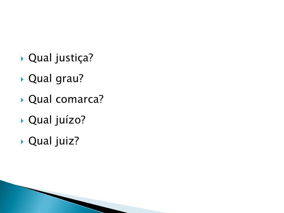 Qual justiça Qual grau Qual comarca Qual juízo Qual juiz