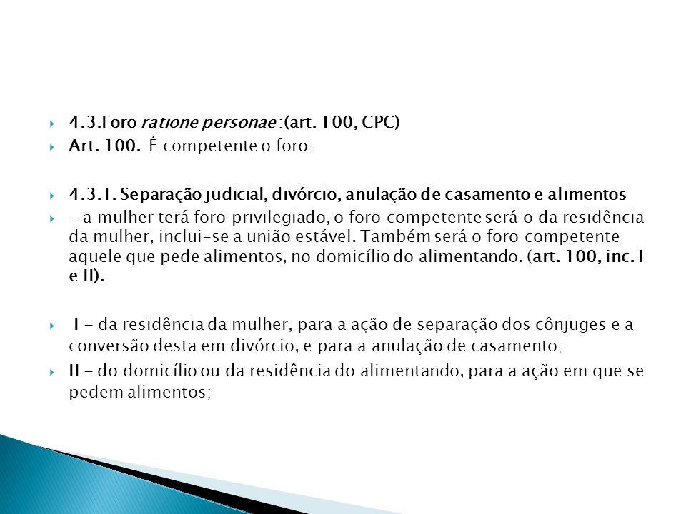 4.3.Foro ratione personae :(art. 100, CPC)