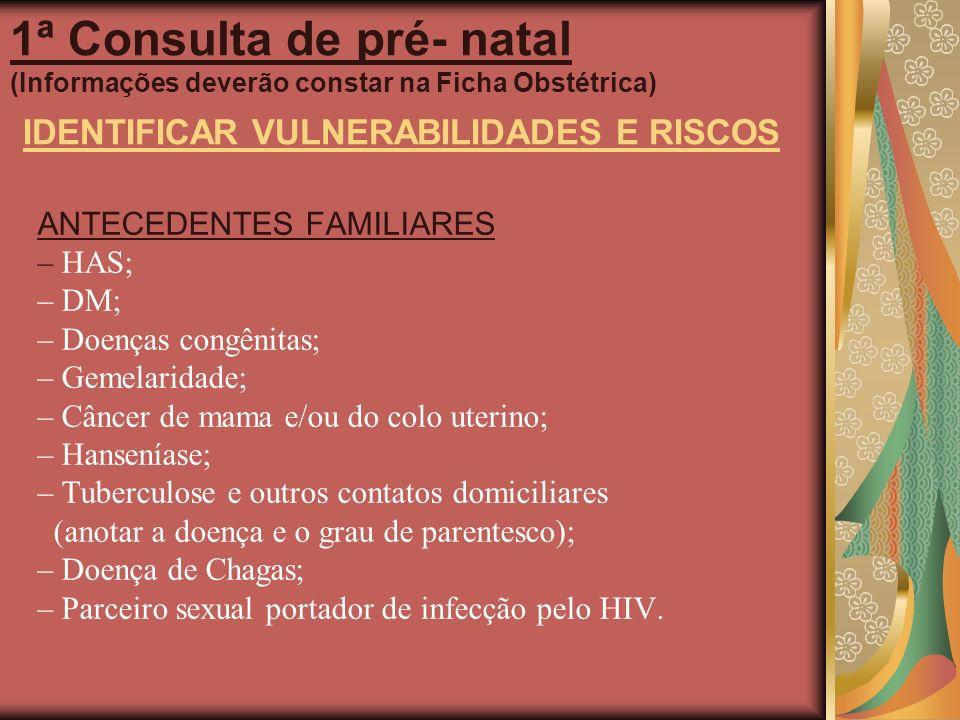 1ª Consulta de pré- natal (Informações deverão constar na Ficha Obstétrica) IDENTIFICAR VULNERABILIDADES E RISCOS