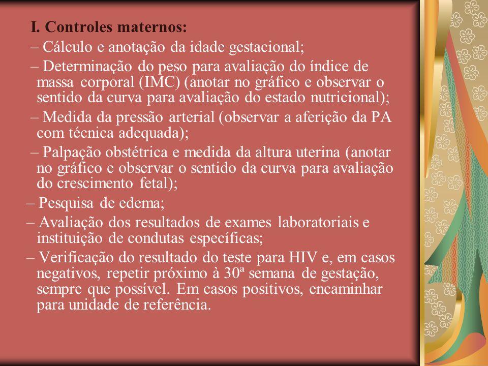 I. Controles maternos: – Cálculo e anotação da idade gestacional;