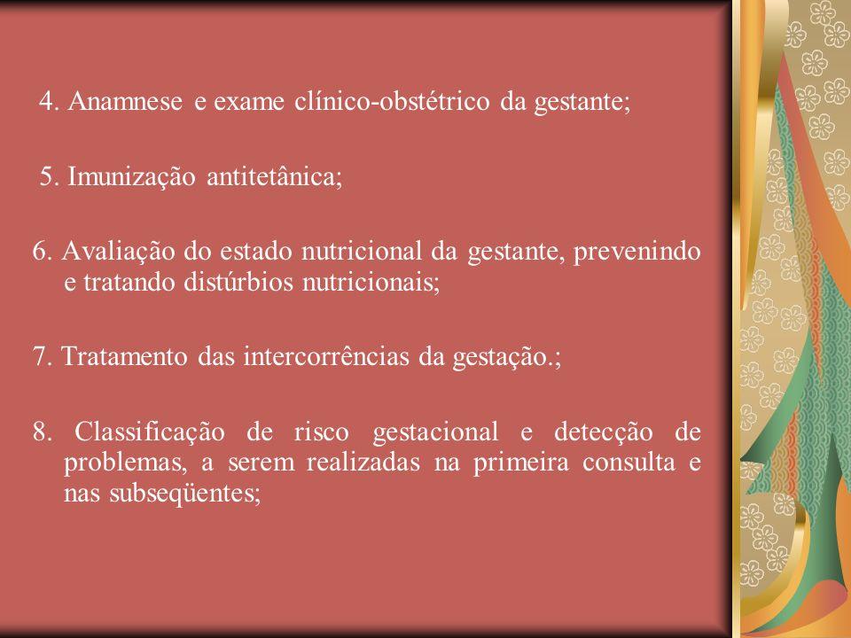 4. Anamnese e exame clínico-obstétrico da gestante;