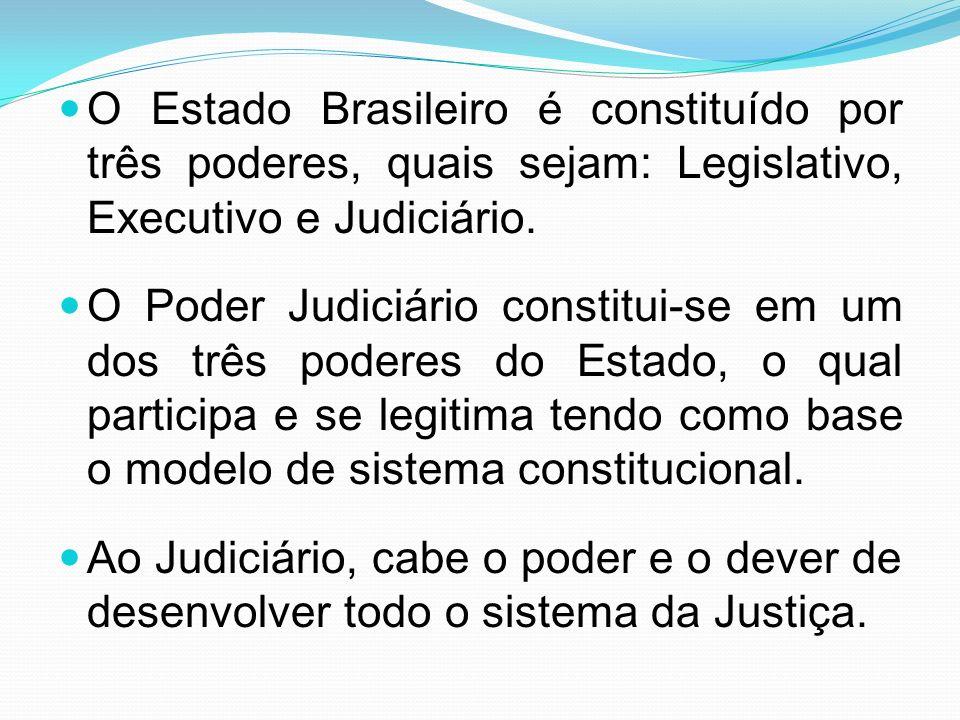 O Estado Brasileiro é constituído por três poderes, quais sejam: Legislativo, Executivo e Judiciário.