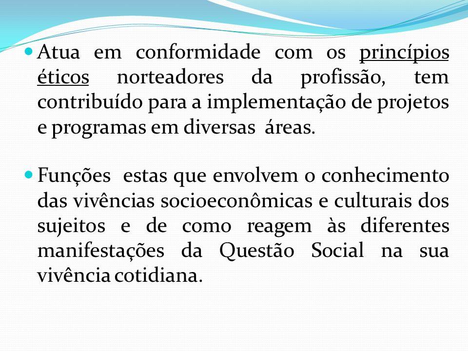Atua em conformidade com os princípios éticos norteadores da profissão, tem contribuído para a implementação de projetos e programas em diversas áreas.