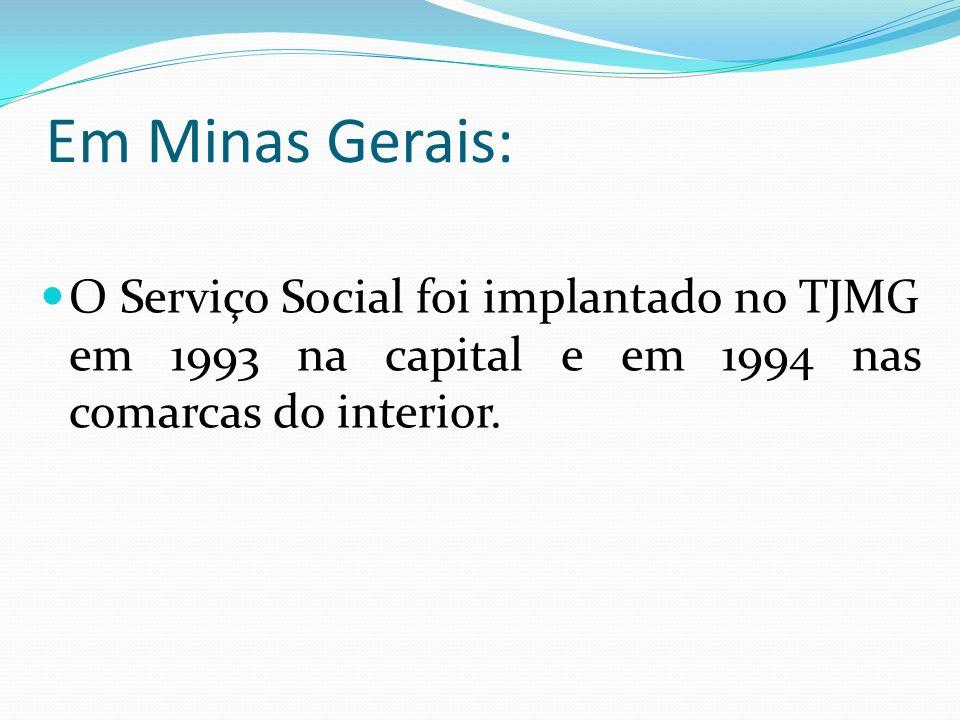 Em Minas Gerais:O Serviço Social foi implantado no TJMG em 1993 na capital e em 1994 nas comarcas do interior.