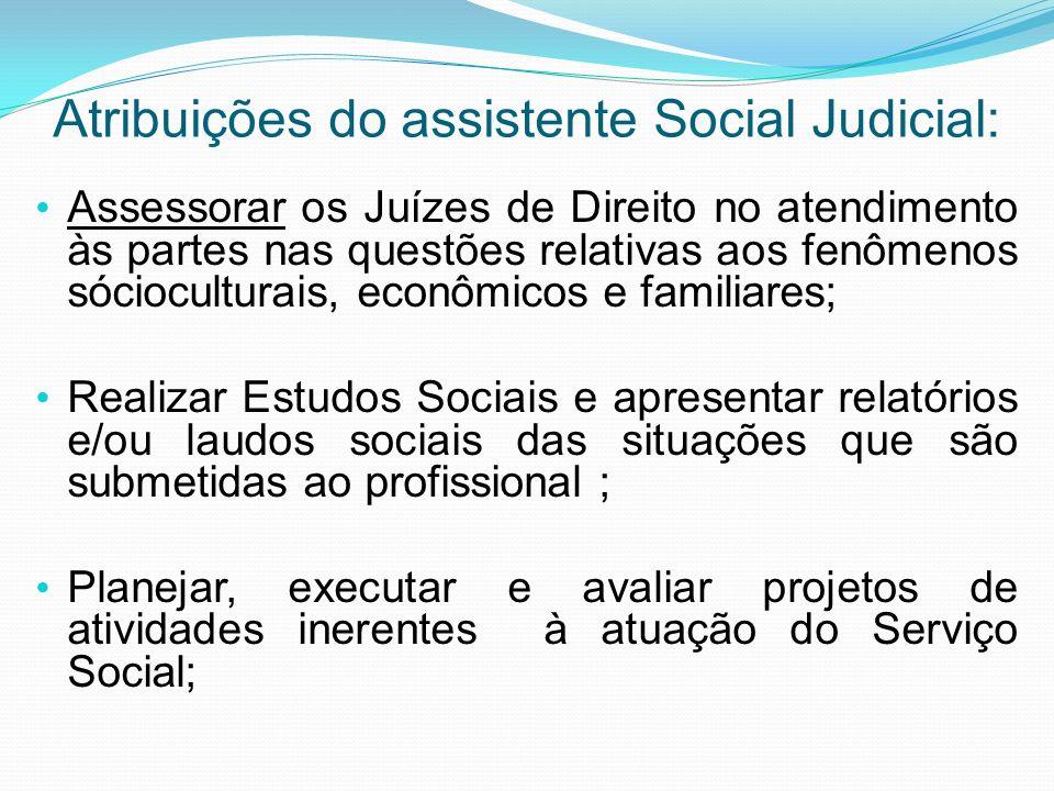 Atribuições do assistente Social Judicial: