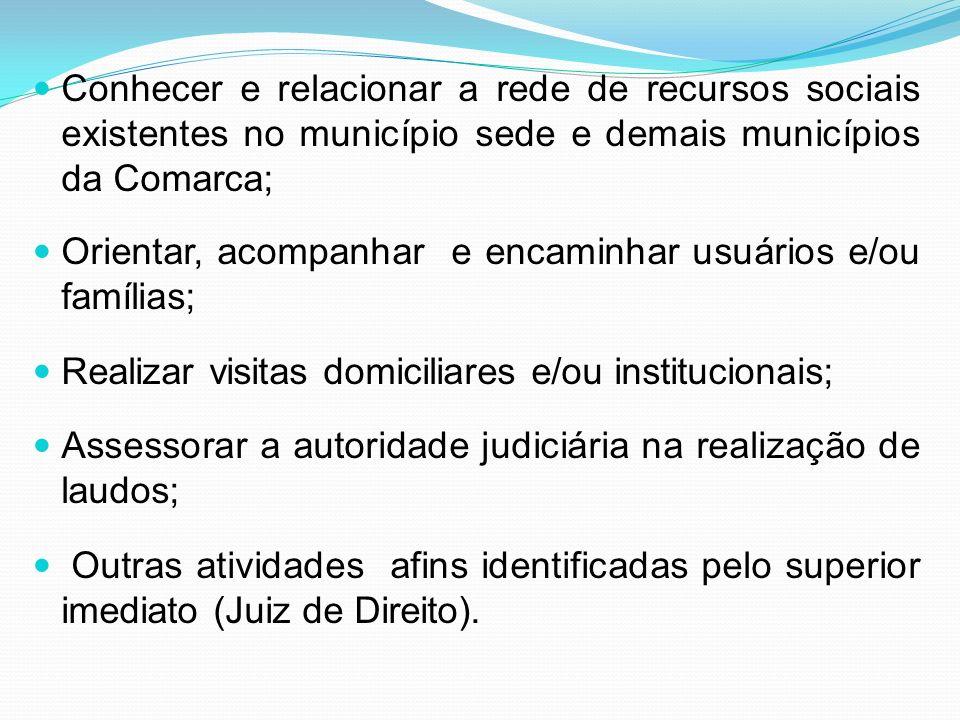 Conhecer e relacionar a rede de recursos sociais existentes no município sede e demais municípios da Comarca;