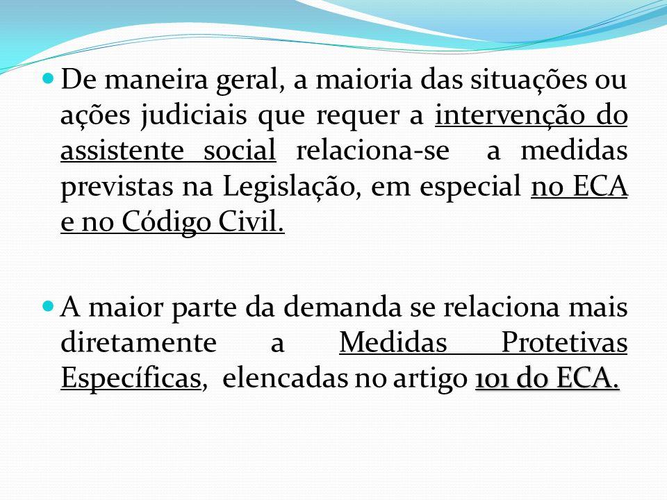 De maneira geral, a maioria das situações ou ações judiciais que requer a intervenção do assistente social relaciona-se a medidas previstas na Legislação, em especial no ECA e no Código Civil.