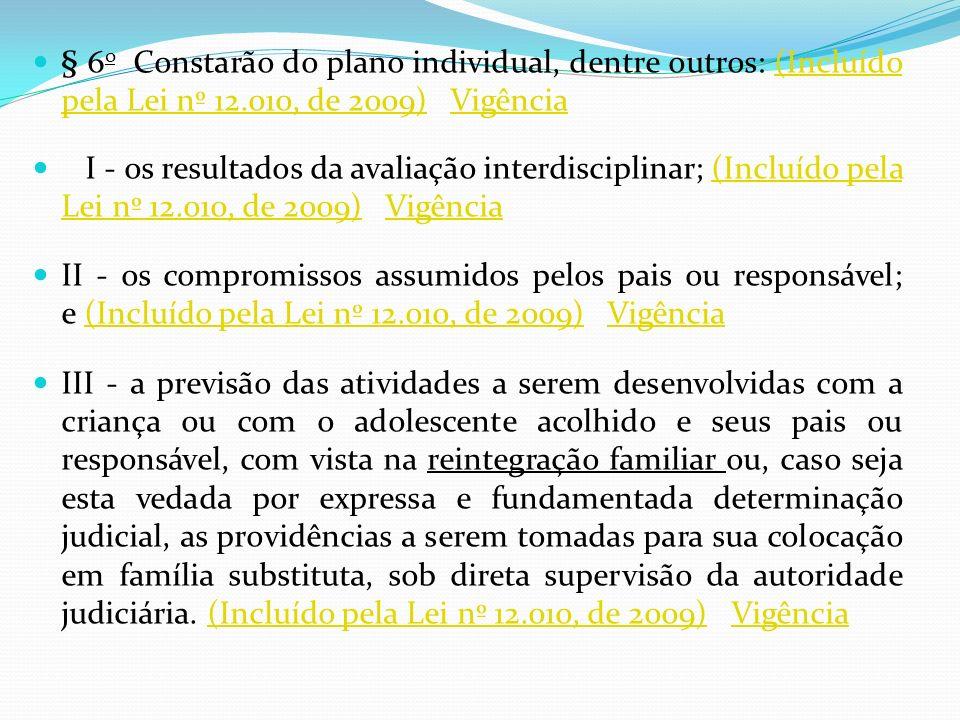 § 6o Constarão do plano individual, dentre outros: (Incluído pela Lei nº 12.010, de 2009) Vigência