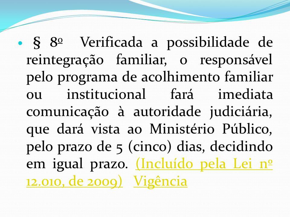 § 8o Verificada a possibilidade de reintegração familiar, o responsável pelo programa de acolhimento familiar ou institucional fará imediata comunicação à autoridade judiciária, que dará vista ao Ministério Público, pelo prazo de 5 (cinco) dias, decidindo em igual prazo. (Incluído pela Lei nº 12.010, de 2009) Vigência