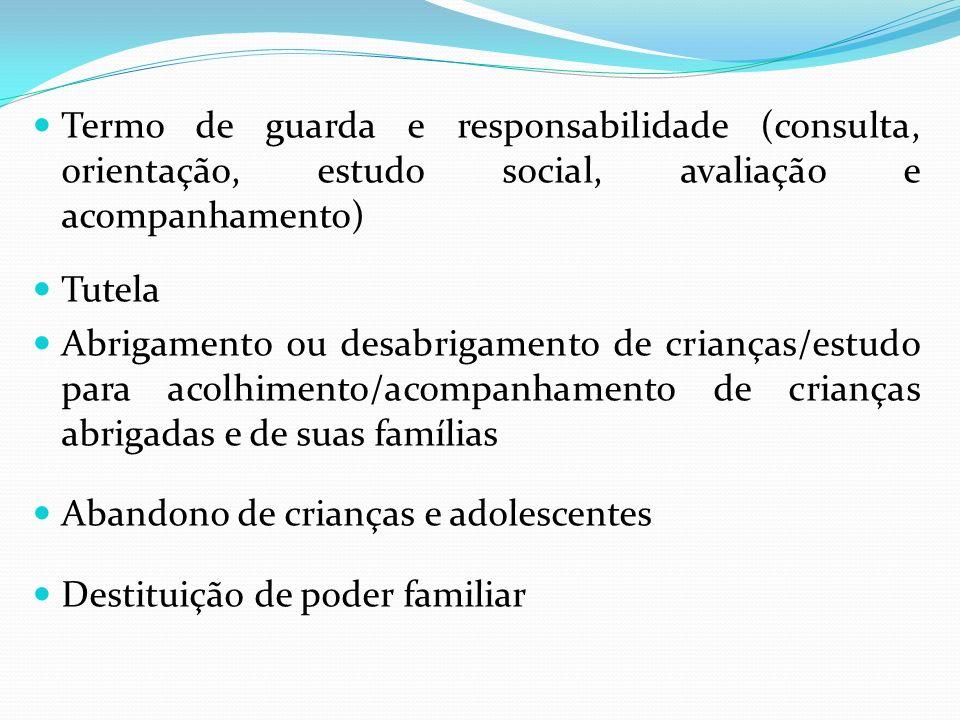 Termo de guarda e responsabilidade (consulta, orientação, estudo social, avaliação e acompanhamento)