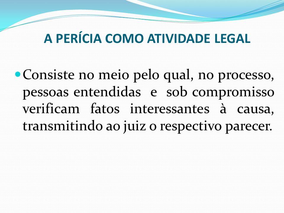 A PERÍCIA COMO ATIVIDADE LEGAL
