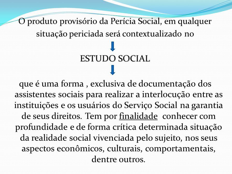 O produto provisório da Perícia Social, em qualquer