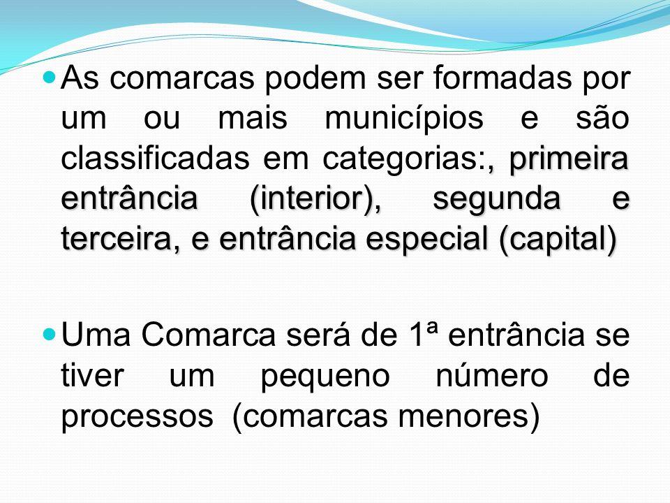As comarcas podem ser formadas por um ou mais municípios e são classificadas em categorias:, primeira entrância (interior), segunda e terceira, e entrância especial (capital)