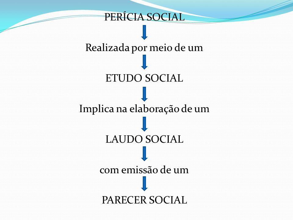 PERÍCIA SOCIAL Realizada por meio de um ETUDO SOCIAL Implica na elaboração de um LAUDO SOCIAL com emissão de um PARECER SOCIAL
