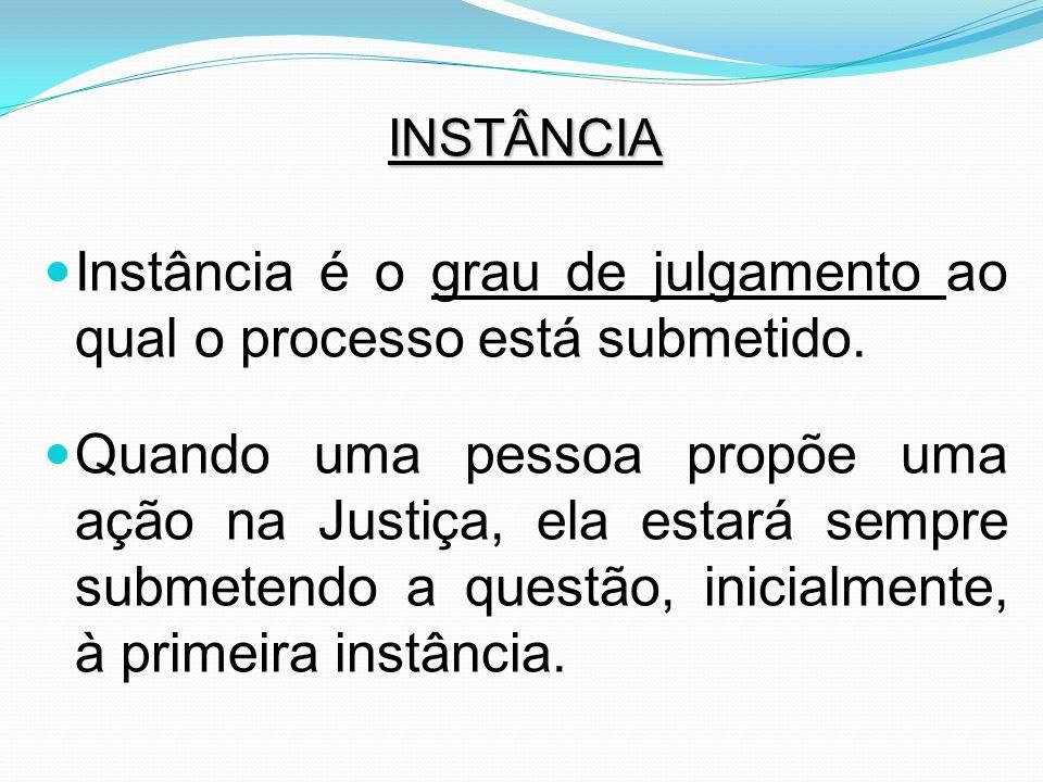 Instância é o grau de julgamento ao qual o processo está submetido.