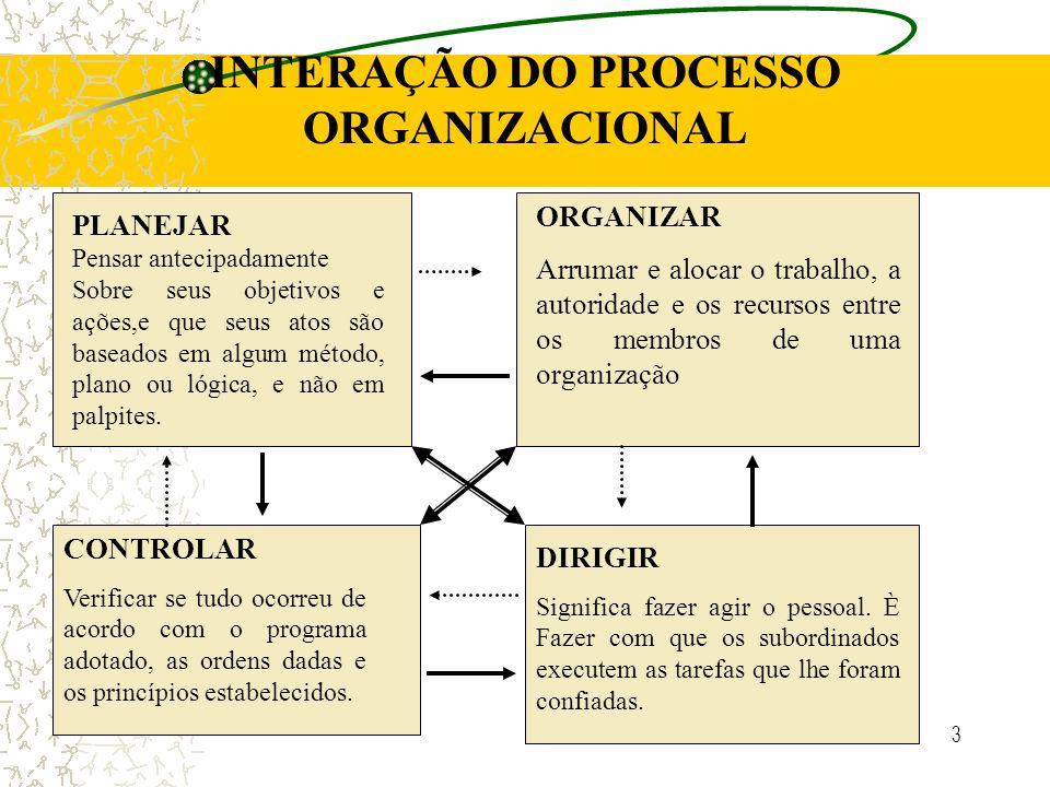 INTERAÇÃO DO PROCESSO ORGANIZACIONAL