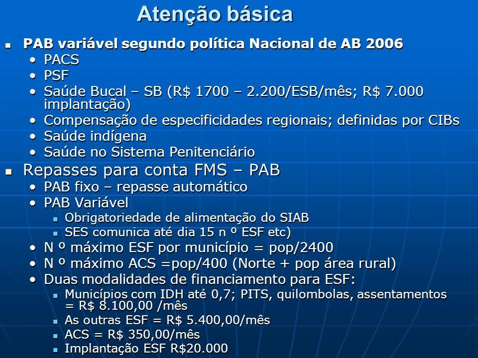 Atenção básica Repasses para conta FMS – PAB