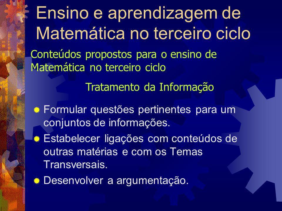 Ensino e aprendizagem de Matemática no terceiro ciclo