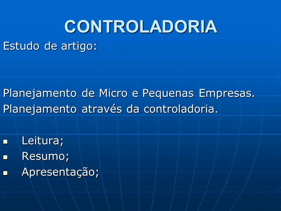CONTROLADORIA Estudo de artigo: