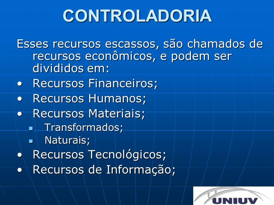 CONTROLADORIA Esses recursos escassos, são chamados de recursos econômicos, e podem ser divididos em: